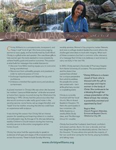 Christy Williams Bio Sheet